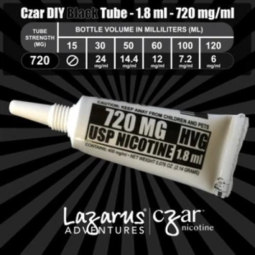 Flavorless Nictoine Liquid,  Czar Nicotine Tube - Black 720mg, Pack of 5  tubes (1.8ml/tube)
