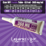 Flavorless Nictoine Liquid,  Czar Nicotine Tube - Purple 360mg, Pack of 5  tubes (0.9ml/tube)
