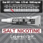 Flavorless SALT Nicotine Liquid,  Czar Nicotine Tube - Grey SALT 1500mg, Pack of 4  tubes (3.75ml/tube)