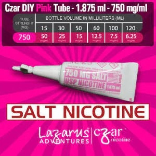 Flavorless SALT Nictoine Liquid,  Czar Nicotine Tube - Pink SALT 750mg, Pack of 5 tubes (1.875ml/tube)