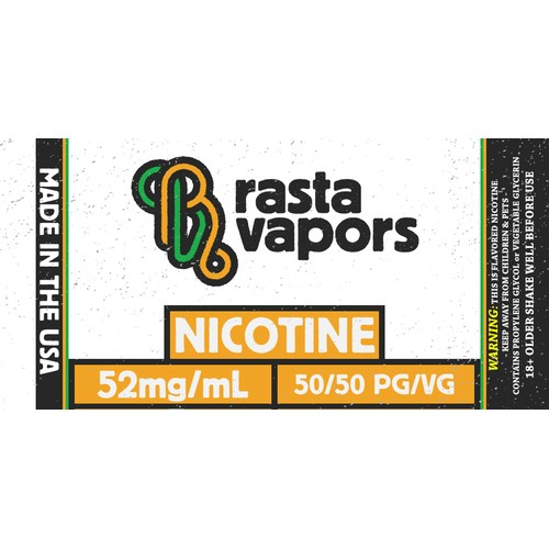 Rasta Vapors 50%/50% PG/VG Based USA Made Flavorless Nicotine Liquid 52mg 60ml