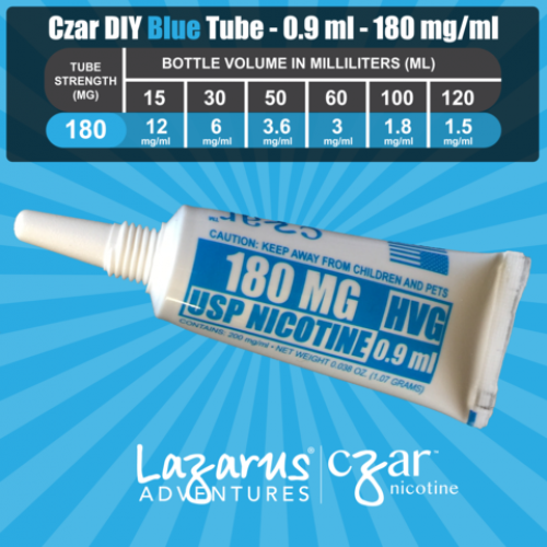 Flavorless Nictoine Liquid,  Czar Nicotine Tube - Blue 180mg, Pack of 5  tubes (0.9ml/tube)